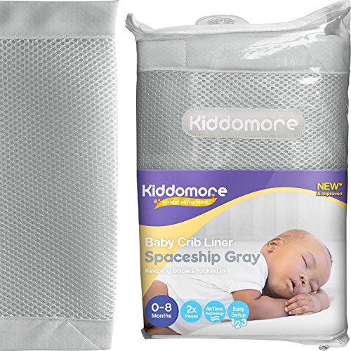 Modern Spaceship Gray Baby Mesh Crib Liner for All Cribs - Breathable Airflow Rail Cover and Bumper - Best for Protecting Your Baby From Getting Arms and Legs Stuck (Stores That Sell Mirrors)