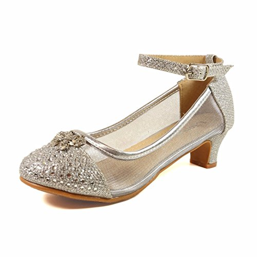 Nova Utopia Girls Low Medium Heel Dress Sandal Shoes,NF Utopia Girl NFGFH58H-B Silver 13 (Shoes For Girls For Dress)