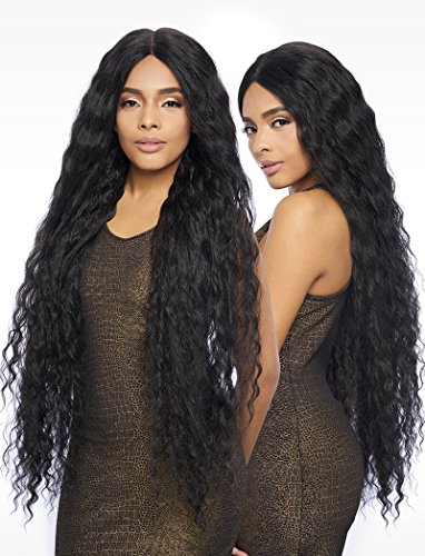 LSD91 (1 Jet Black) - Harlem 125 Synthetic 6 Deep Part Swiss Lace Front Wig Extra Long 42
