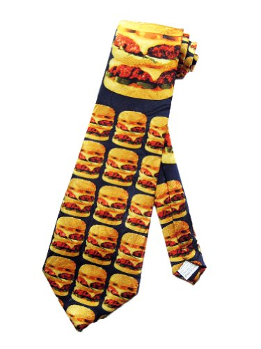 Fratello Mens Cheeseburger Fast Food Necktie - Black - One Size Neck Tie