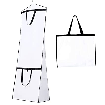 ca3608b76018 Breathable Wedding Dress Garment Bag Dust Cover Storage Travel Bag Foldable  Protective Cover for Wedding Gowns, Bridal Gown, Evening Gown (White)