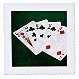 3dRose Alexis Photo-Art - Poker Hands - Poker Hands High Card, Queen to Four - 18x18 inch quilt square (qs_270579_7)