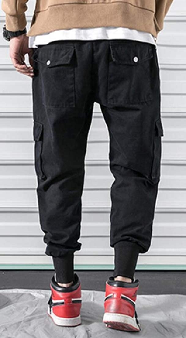 Fubotevic Mens Casual Elastic Waist Multi Pockets Loose Fit Jogger Cargo Pants Trousers