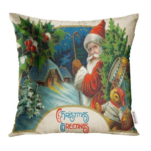 Emvency Decorative Throw Pillow Covers Cases Red Old Christmas Greetings Santa Claus Making Delivery Circa 1914 Vintage Classic Elf 16x16 Inch Case Cover Cushion Two Sided -