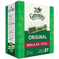 GREENIES Original Regular Size Natural Dental Dog Treats, 27 oz. Pack (27 Treats)