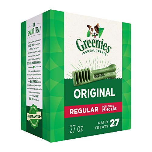 GREENIES Original Regular Natural Dog Dental Care Chews Oral Health Dog Treats, 27 oz. Pack (27 Treats)