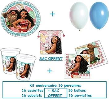 Kit de cumpleaños de fiesta Disney VAIANA para 16 personas + ...
