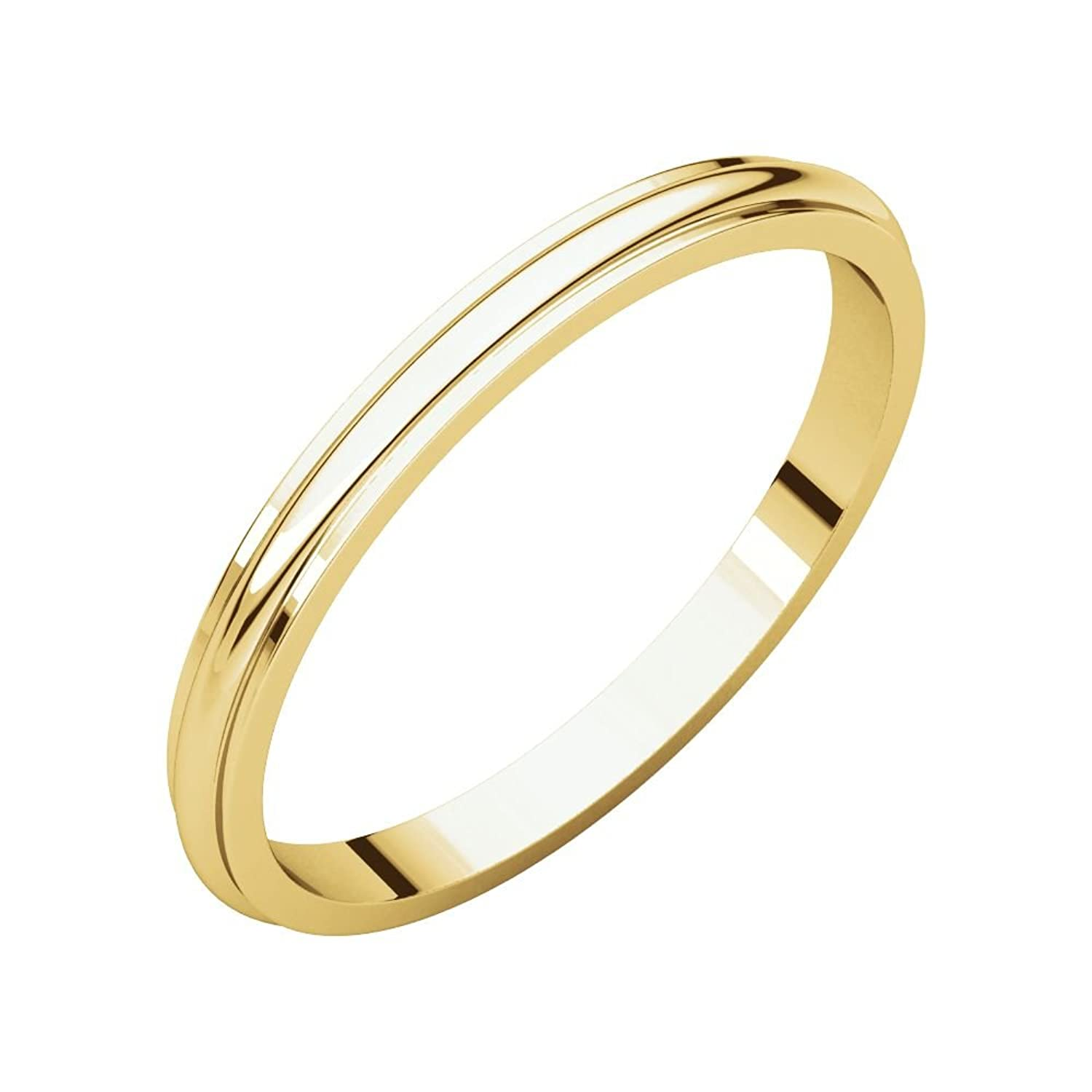 10K Yellow 2mm Half Round Edge Band