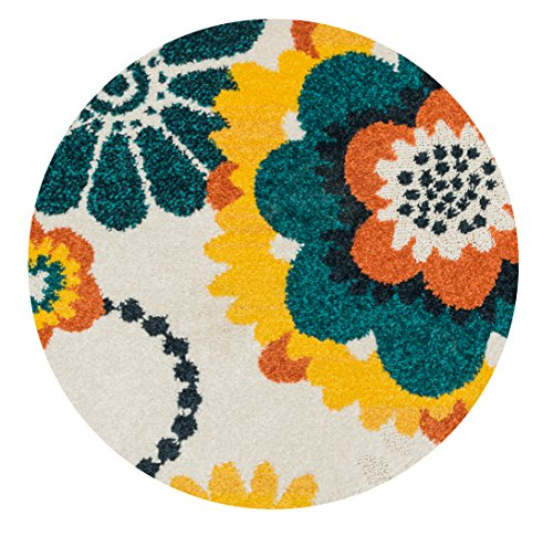 Loloi Rugs TERCHTC06IVML300R Terrace Indoor/Outdoor Round Area Rug, 3 Feet  0 Inch By 3 Feet 0 Inch, Ivory/Multi Color