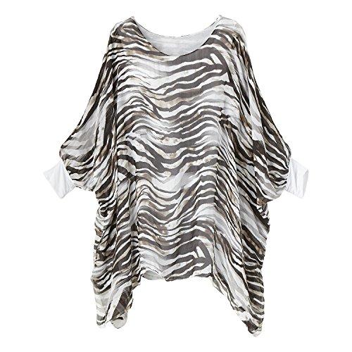 Zebra Print Tunic Top - Women's Tunic Top - Zebra Print Silk Wash Popover Cape