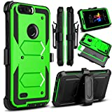 zte zmax swivel clip - Venoro for ZTE Blade Z Max Case, ZMax Pro 2 Case, ZTE Sequoia Case, Heavy Duty Shockproof Full Body Protection Rugged Hybrid Case Cover with Swivel Belt Clip and Kickstand for ZTE Z982 (Green)