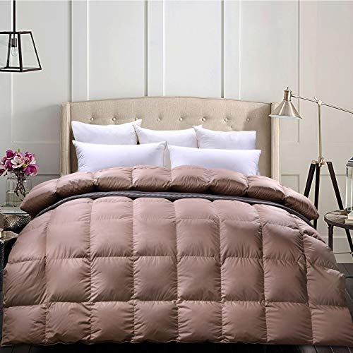 C&W Luxurious Siberian Goose Down Comforter Queen Size Duvet Insert Heavywarmth for Winter 1200TC Cover 750 FP 50oz Fill Weight Brown Solid (Colored Down Blankets)