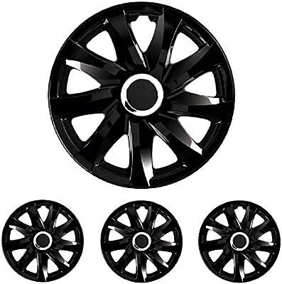 Tapacubos – Tapacubos universal apto para Standard Llantas de Acero 14 14 pulgadas Drift Negro para Toyota, VOLVO, VW