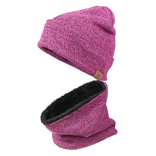 Winter Knit Hats Beanie Warm Circle Loop Scarf for Women (2 in 1,Traffic Purple)