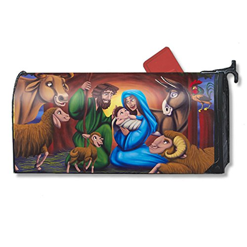 Juvale Christmas Mailbox Cover - Decorative Magnetic Mailbox Wrap with Nativity Scene Design, Fits Standard-Sized Mailboxes
