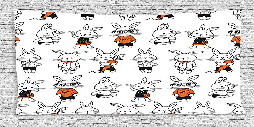 [Cotton Microfiber Bathroom Towels Ultra Soft Hotel SPA Beach Pool Bath Towel Funny Collection Cute Retro Bunny Rabbits with Costumes Jack Hare Funky Bunnies Carrot Sketch Style Print Orange] (Real Godzilla Costume)