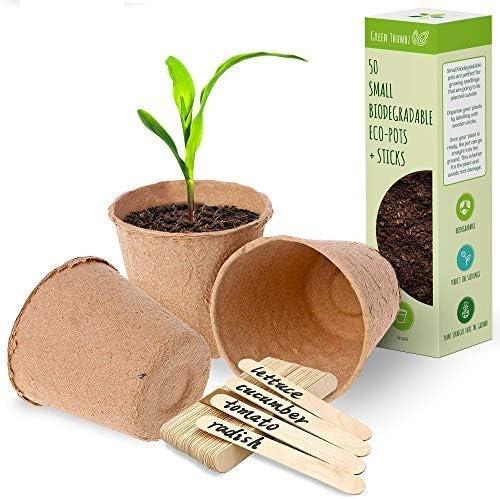 Biologisch Afbreekbare Ronde Stekpotjes Kleine Bio Turf Kweekpotjes ter Decoratie Binnen en Buiten Potjes voor Zaden Bloemen en Planten met Houten Lollipop Label Stokjes50 Stuks