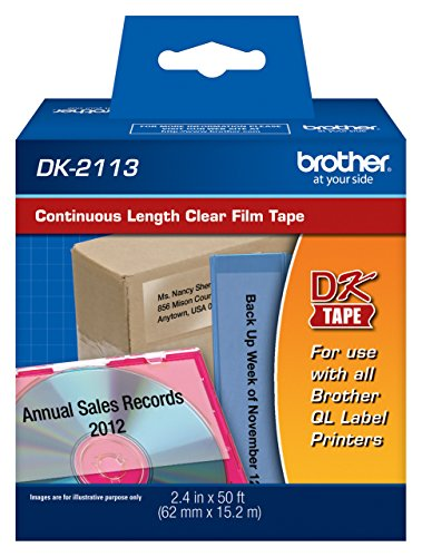 Brother DK2113 Continuous Clear Film Labels, 50' of Continuous Clear Label Per Roll for Brother QL-710W, QL710W Label Printer