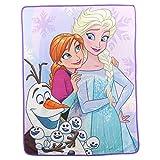 Northwest Kid's Colorful Character Micro Raschel Throw Blanket 46'' x 60'' (Frozen Snow Hugs)