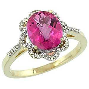 14K Yellow Gold Diamond Halo Natural Pink Topaz Ring Oval 9x7mm, size 8