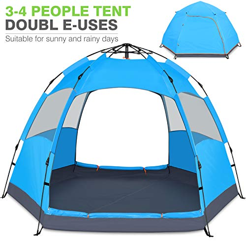 Victostar Instant Pop Up Family Camping Tent,Double Layer Waterproof 4 Season for Picnic Fishing Hiking Traveling (Blue) (The Best Family Tents)
