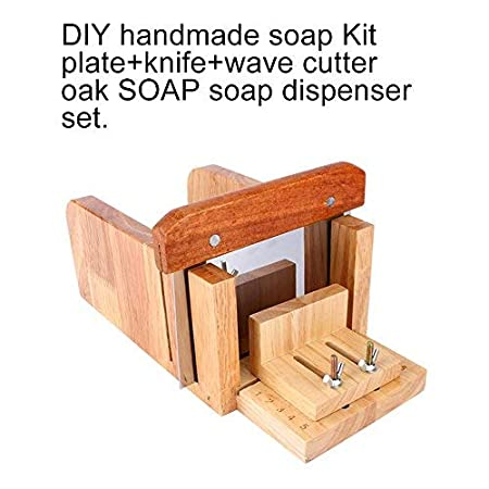 Soap Mould Loaf Cutter Set Madera Soap Loaf moho + acero inoxidable Stee recto Soap Cutter + Wavy Cutter Home Kitchen Tool Set