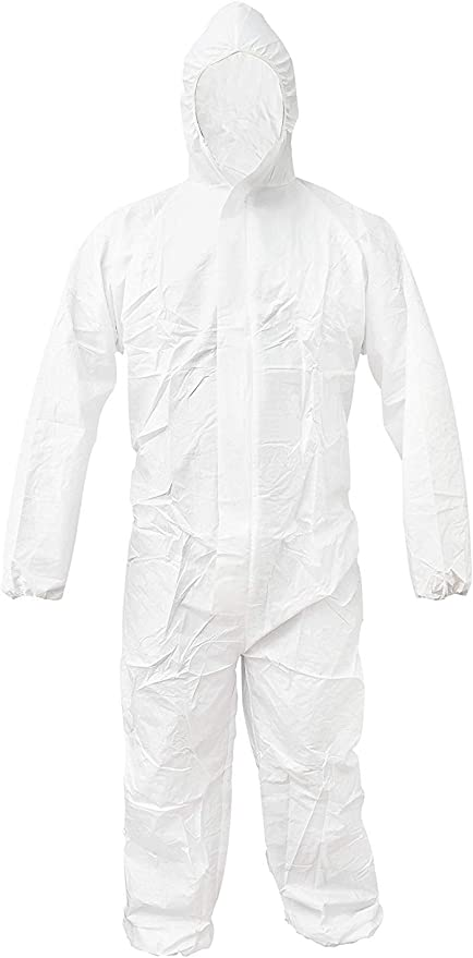 Shield Safety 55G Microporous Disposable Coverall with Hood XL Size White 25 Pcs