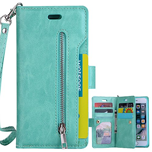 for iPhone 5 5S SE Wallet Case, LAPOPNUT Luxury Wallet PU Leather Flip Case Dual Folio Card Slot Sleeve Housing with Wrist Strap Magnetic Stand Case Cover, Purple