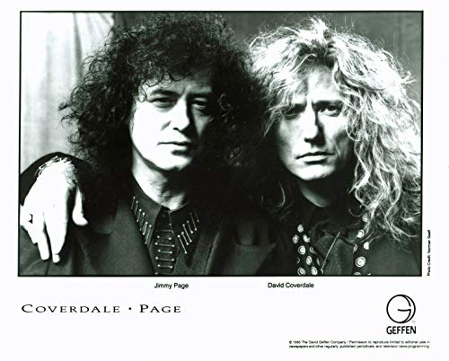 Jimmy Page & David Coverdale 1993 B&W 8x10 Promotional Photo Unsigned ()