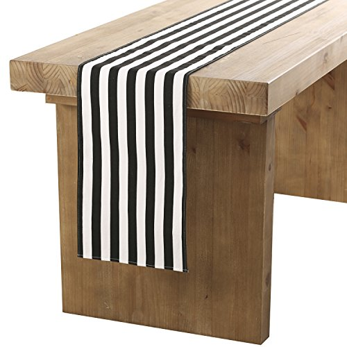 Black White Decorations Wedding And (ling's moment Classical Durable Black and White Striped Table Runner for Wedding Graduation Bachelorette Party Table Decorations - Cotton Canvas Fabric 12