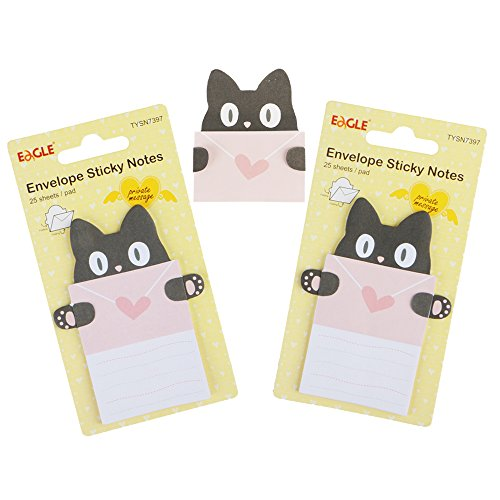 Eagle Cute Cartoon Envelope Sticky Notes, Self-Adhesive, Foldable, for Private Messaging, Memo Pad, 2-Pack, 50 Sheets in Total (Cat)