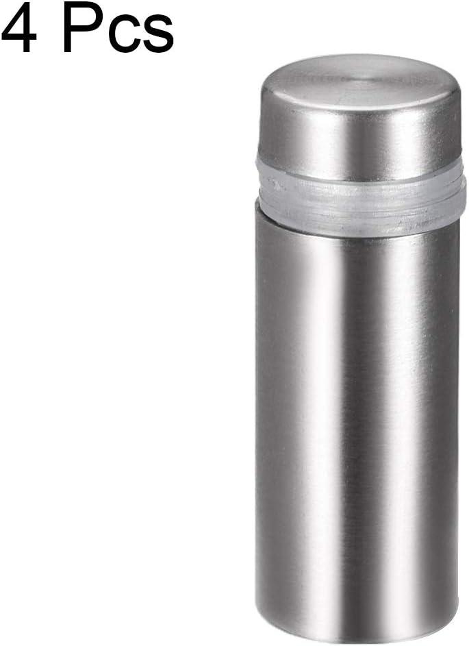 sourcing map Separador De Acero Inoxidable para Vidrio De Montaje En Pared De Clavos De 12 mm De Di/ámetro 33mm Longitud 4 Pcs