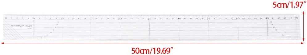 bhty235 R/ègle Incassable 5x 50cm mod/èle de patchwork de r/ègle en plastique matelassage couture artisanat outils