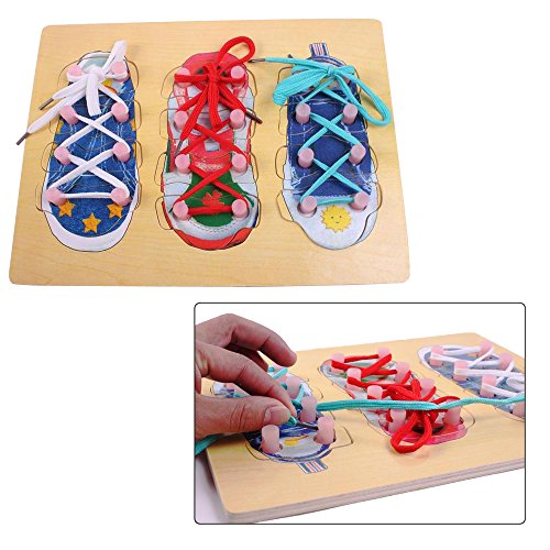 Toy Cubby Kids Toddler Wooden Tie Your Shoe Puzzle Board Set by Toy Cubby
