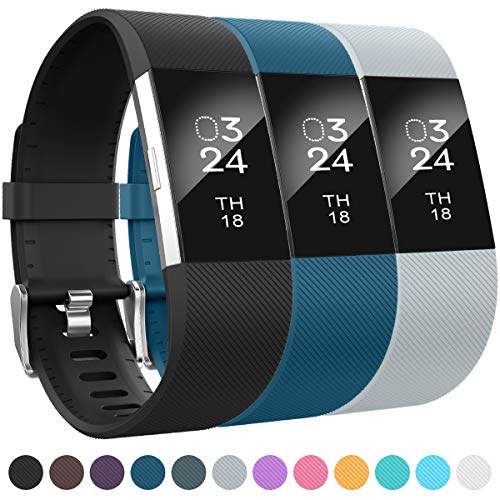AIUNIT Compatible Silicone Bands Applicable for Fitbit Charge 2 Accessories Wristbands Stylish to Coordinate with Daily Outfits Suitable for Women Men Boys Girls(Stripe) ()