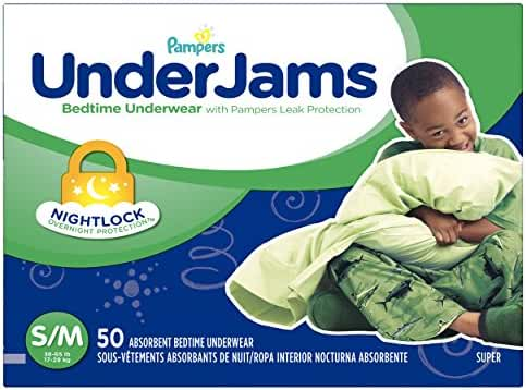 Pampers UnderJams Bedtime Underwear Boys Size S/M, 50 Count