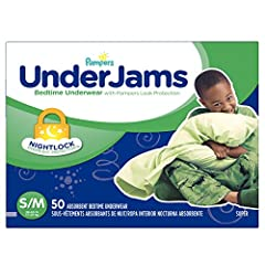 Don't let your child's accidental bedwetting hold him back from a great day. Ensure he stays dry overnight so he can start the day right. UnderJams by Pampers have a NightLock ultra-absorbent core to capture wetness, hold it overnight, and en...