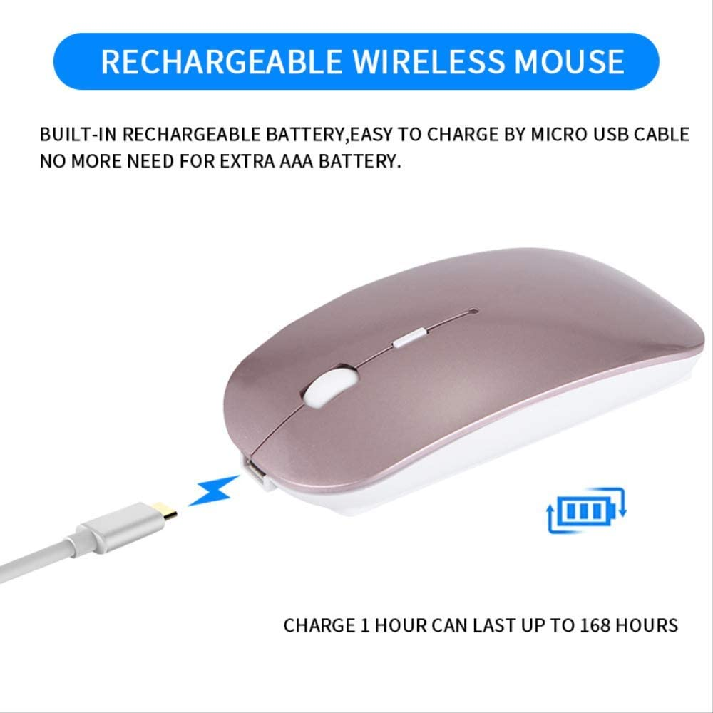 Dual Mode Slim Wireless Mouse with Silent Click Noiselessfor Pc Mac Laptop Android Rechargeable 2.4ghz Wireless Bluetooth Mouse Windows