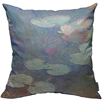 Mugod Throw Pillow Cover Floral Artist Pink Water Lilies Monet Fine Nature Home Decorative Square Pillow Case for Men Women Boy Gilrs Bedroom Livingroom Cushion Cover 18x18 Inch