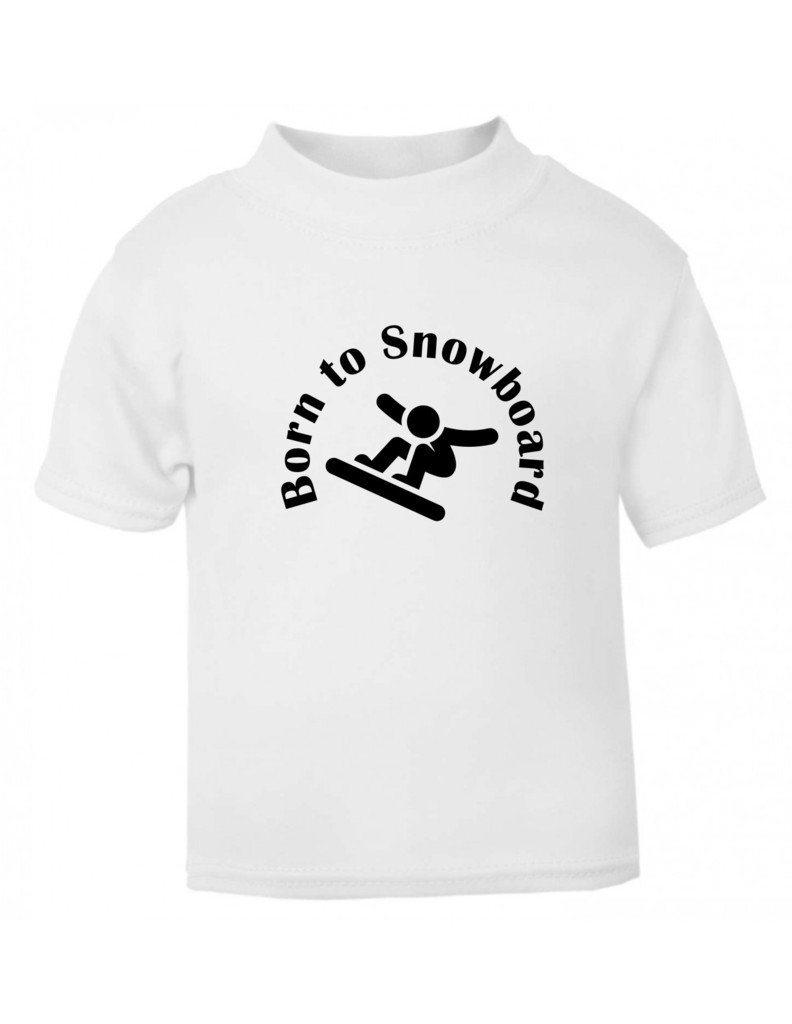 The Bees Tees Born to Snowboard Baby and Child's t-shirt White 3-6 months