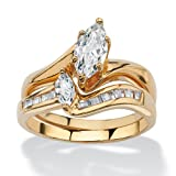 Palm Beach Jewelry 18K Yellow Gold Plated Marquise Cut Cubic Zirconia Bridal Ring Set Size 6