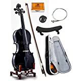SKY 4/4 Full Size SKYVN201 Solid Maple Wood Black Violin with Lightweight Case, Brazilwood Bow, Shoulder Rest, String, Rosin and Mute