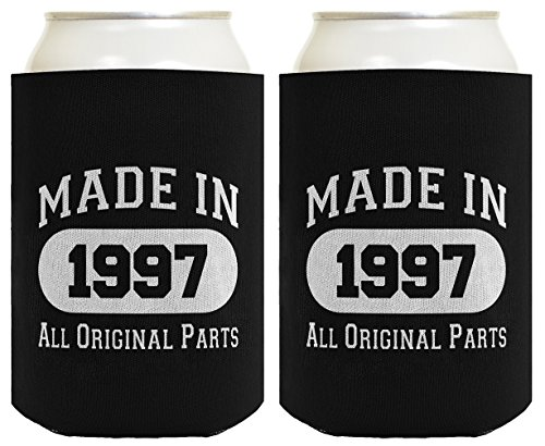 21st Birthday Gift Coolie Made 1997 Can Coolers Coolies 2 Pack Black (Original Cake Candle)