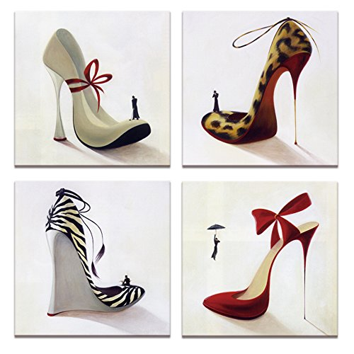 Fashion Shoes Pictures Canvas Art,High Heel,Innovational Protect Animals Series Design,Shoe Shop Wall Decor,12x12inchesx4pcs, Ready to Hang on Canvas Painting Prints Artwork