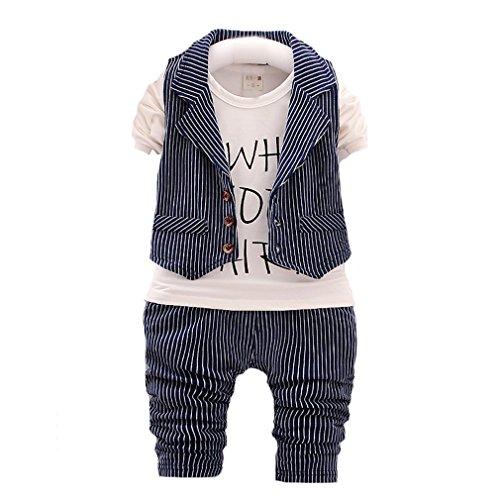 OMSMY Kinder Geschenk 2 pcs Langarmshirt mit Weste + Hose Bekleidungsset Baby Kleinkind Kinderanzug Junge Anzug Kleikind Festlich (92CM-98CM(Etikett 100), Blau)