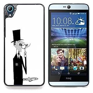 """Sir Monsieur Negro Blanco Café Bigote"""" - Metal de aluminio y de plástico duro Caja del teléfono - Negro - HTC Desire 626 626w 626d 626g 626G dual sim"""