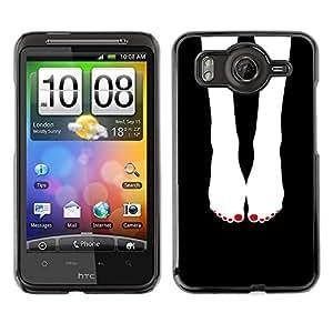 TopCaseStore / la caja del caucho duro de la cubierta de protección de la piel - Feet Black White Nails Girl - HTC G10