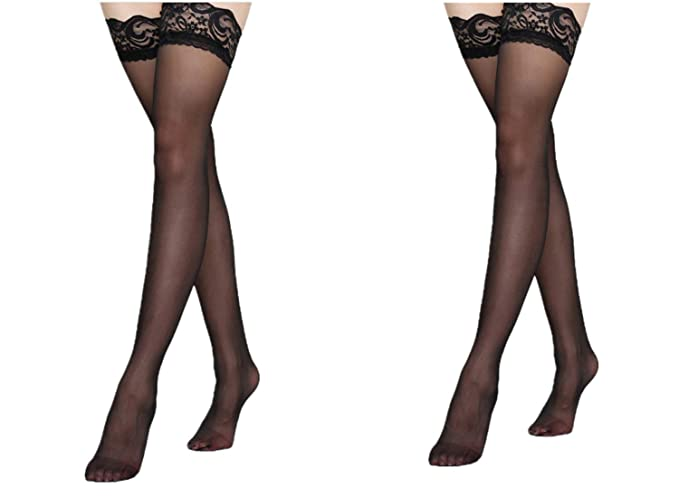 ed541ebd0 Sexy Lace Top Thigh High Stockings For Women Stay-Ups s Hosiery Black Red ( Black) at Amazon Women s Clothing store