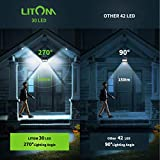 LITOM 30 LED Solar Motion Sensor Lights, IP65 Waterproof Solar Lights Outdoor with 3 Lighting Modes, 270° Wide-Angle Illumination Solar Lights for Front Door, Yard, Garage, Pathway and Patio-4 Pack
