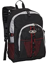 Everest Luggage Backpack with Dual Mesh Pocket, Burgundy/Gray/Black, Burgundy/Gray/Black, One Size